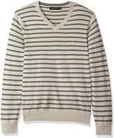 Nautica Men's Standard Long Sleeve Striped Classic V-Neck Sweater