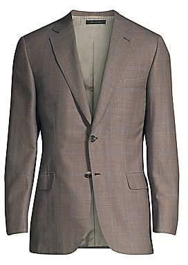 Brioni Men's Virgin Wool, Silk & Linen Windowpane Jacket