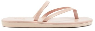 Ancient Greek Sandals Cross-strap Leather Slides - Womens - Light Pink