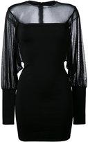 Balmain sheer panel fitted dress - women - Polyamide/Spandex/Elastane/Viscose - 36