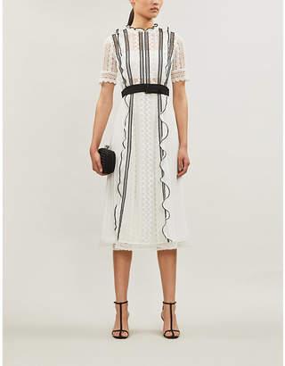 Self-Portrait Contrast-trim guipure lace and crepe dress