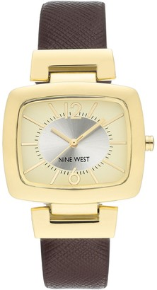 Nine West Women's Two-Tone Dial Brown Strap Watch