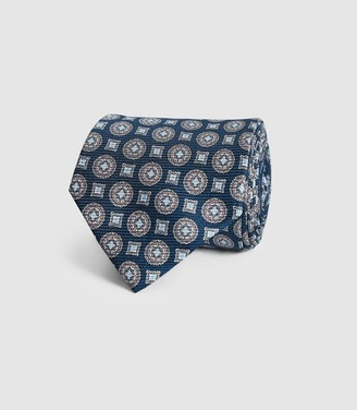 Reiss Lennie - Silk Medallion Tie in Navy