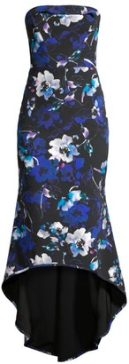 Black Halo Dylan Floral High-Low Midi Dress