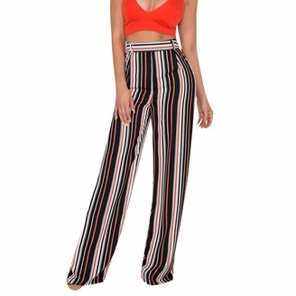 TIFIY Women's Classic Casual Striped Wide Leg Pants Chic Loose Palazzo Trousers Work Office Pants(Black L)
