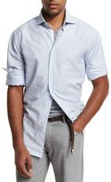 Brunello Cucinelli Striped Long Sport Shirt, Blue