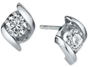 Sirena Diamond Twist Stud Earrings (1/2 ct. t.w.) in 14k White Gold