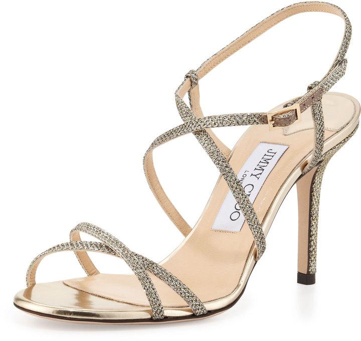 Jimmy Choo Elaine Strappy Glitter Sandal, Light Bronze