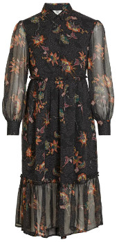 Object Floral Objlake Midi Dress Black - 36