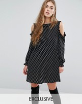 Missguided Cold Should Frill Polka Dot Shift Dress
