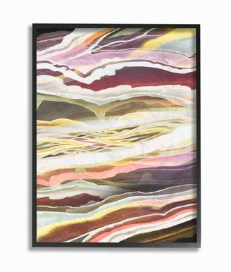 Stupell Home Décor The Stupell Home Decor Collection Blue Pink Red Green Waves And Streams Abstract Framed Giclee Texturized Art, 11 x 1.5 x 14