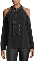 MICHAEL Michael Kors Dome-Studded Cold-Shoulder Top