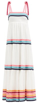 Zimmermann Lulu Tiered Ribbon-applique Linen-poplin Dress - Ivory
