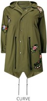 boohoo Plus Twill Parka With Badge Appliques