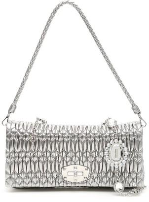 Miu Miu Matelasse Embellished Strap Shoulder Bag