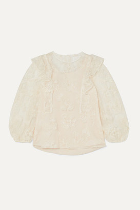 Chloé Ruffled Embroidered Tulle Blouse - Ivory
