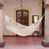 Novica Natural Comfort Outdoor Garden Patio Pool Off White Cotton with Nylon Handmade Knotted Rope Style Nylon Single Hammock (Mexico)