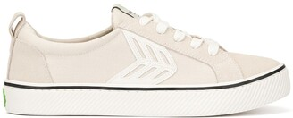 Cariuma CATIBA Low Stripe Vintage White Suede and Canvas Sneaker