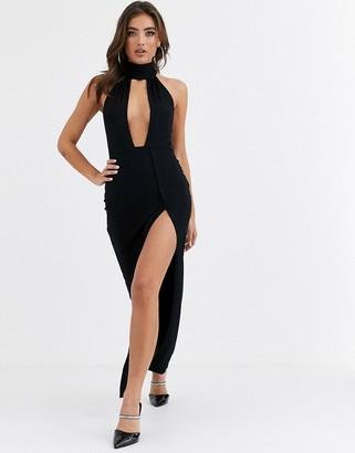 Asos Design DESIGN going out deep plunge maxi dress-Black
