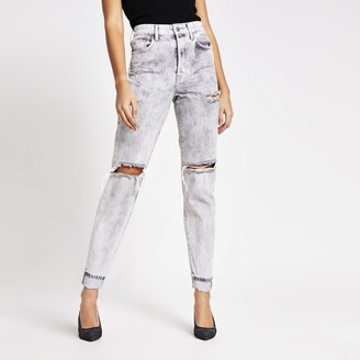 River Island Womens Light Grey rip Carrie high rise Mom jeans