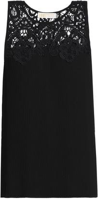 MICHAEL Michael Kors Guipure Lace-paneled Pleated Crepe Top