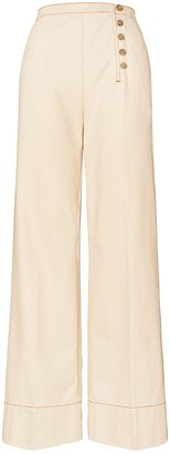 Tory Burch Twill Button-Front Trouser