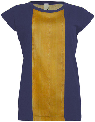 Format BASE Blue & Wood Single Plain T-Shirt - S - Gold/Blue