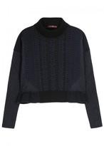 High Plush Cropped Textured-knit Sweatshirt