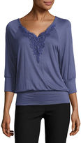 BY AND BY by&by Long Sleeve U Neck Blouse-Juniors