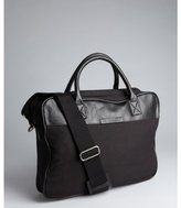 William Rast black canvas and leather 'Casual Brief' messenger briefcase
