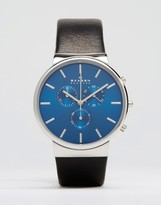 Skagen Ancher Chronograph Leather Watch In Black 40mm