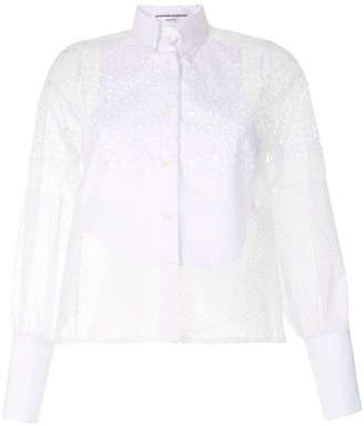 Ermanno Scervino Bib-Front Perforated Lace Blouse