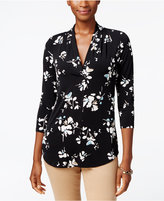 Charter Club Petite Floral-Print Pleated Top, Only at Macy's