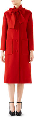Gucci Single-Breasted Bow-Neck Wool Coat
