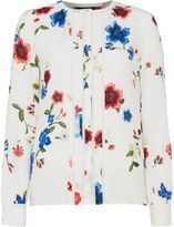 Ellen Tracy Floral blouse with piping