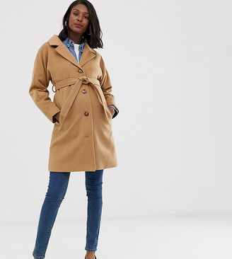 Mama Licious Mamalicious Maternity tailored coat with belted waist in camel