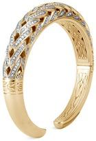 John Hardy Diamond 18k yellow gold chain effect cuff