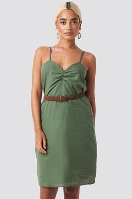 BEIGE Trendyol Strap Linen Mini Dress