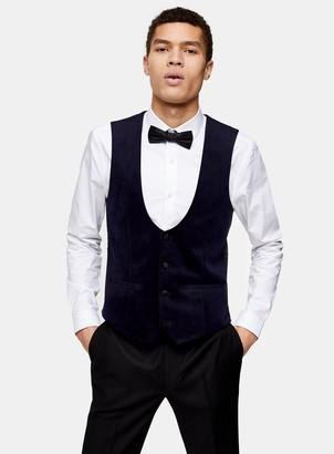 Topman Navy Velvet Skinny Fit Single Breasted Suit Waistcaot