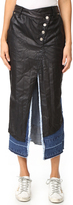 Sjyp Black Coating Layered Denim Skirt
