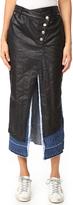 Sjyp Black Coating Layered Denim Skirt