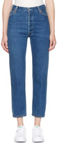 RE/DONE Re-done Indigo High-rise Straight Crop Jeans