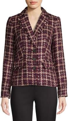 Karl Lagerfeld Paris Patterned Tweed Blazer