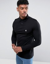 Asos Pique Long Sleeve Muscle Polo In Black With Logo
