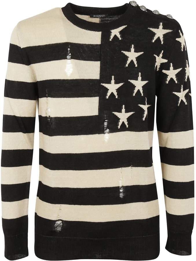 Balmain Stars And Stripes Pullover