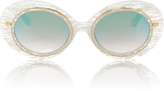 Krewe Iris White Linen Round Acetate and Metal Sunglasses
