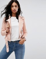 Vero Moda Petite Leather Look Belted Biker Jacket