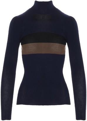 Fendi Contrasting Stripe Roll Neck Sweater