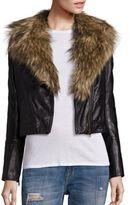 Free People Faux Fur Collar Moto Jacket