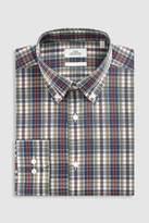 Mens Next Rust Skinny Fit Single Cuff Madras Check Shirt